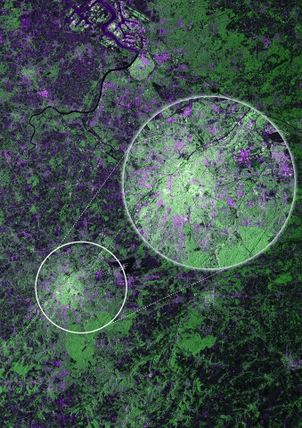 This first image from Sentinel-1A, acquired on 12 April 2014 just 9 days after launch, captures Brussels and its surroundings in Belgium. The image also shows a more detailed view of the city in the inset. Green corresponds to vegetation, red-blue to urban areas, white to high-density urban areas, and black to waterways and low-reflective areas such as airport runways. Credit: ESA