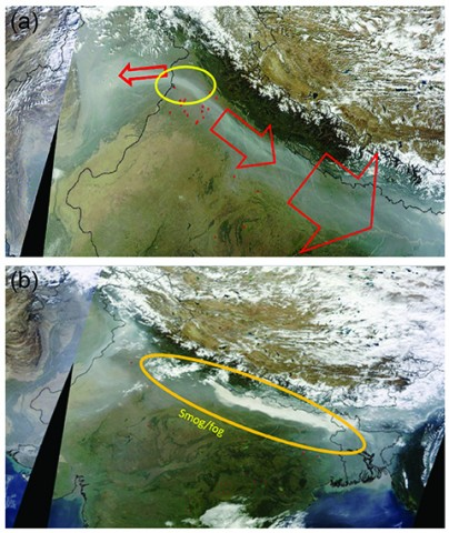 Fig. 1. (a) The Terra satellite's Moderate Resolution Imaging Spectroradiometer (MODIS) image from 30 October 2013, showing transport of plumes from crop residue burning in Punjab (yellow circle shows crop residue burning areas) toward the east of the Indo-Gangetic plain (IGP) and also toward border areas of Pakistan. (b) MODIS image from 1 November 2013, showing the same plume form intense smog and fog over the IGP.