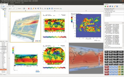 Large scale analysis plotting using an array of visualization tools, such as DV3D (top left), VisIt-R plot (bottom left), CDAT plots (middle), VisIt-R (top right), and ParaView (bottom right). Using intuitive drag-and-drop operations, scientists can create, modify, copy, rearrange, and compare visualizations.