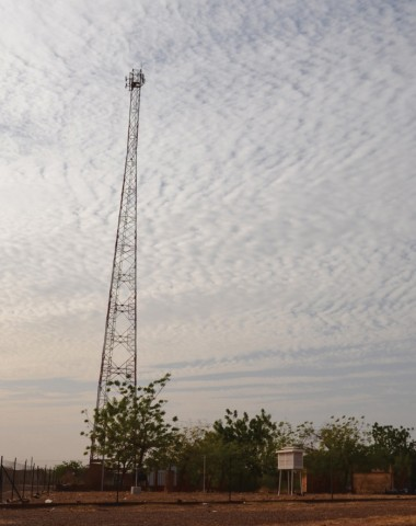 A cell tower in Ouagadougou next to a meteorological station. Credit: Frederic Cazenave
