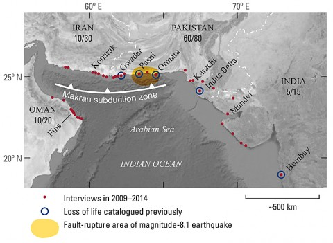 The tsunami originated along the Makran subduction zone, the seaward edge of which is marked by the white barbed line. An approximate source area of the parent earthquake (yellow) has been inferred from seismograms and coastal uplift [Byrne et al., 1992]. Tsunami fatalities, most of which occurred in what is now Pakistan, were previously documented at the sites marked by blue circles [Ambraseys and Melville, 1982]. Red dots locate recent interviews about the 1945 disaster. The fractions give round numbers of credible first-­hand accounts (numerator) and total interviews (denominator) by country.
