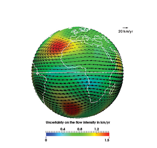 The velocity field and its associated intensity uncertainties at the level of the Earth's core mantle boundary below Africa for the beginning of 2005. Credit: Baerenzung