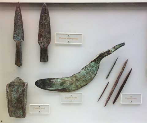 Copper artifacts created by people of the Old Copper Complex.