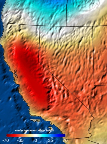 Data from NASA's GRACE satellite show the decline in California's water supply between September 2011 and September 2014. Photo from NASA/JPL