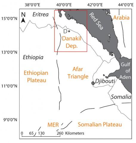 Fig. 1. Location of the study area. MER, Main Ethiopian Rift; D, Dallol region. Black lines represent escarpment boundaries [Keir et al., 2013].