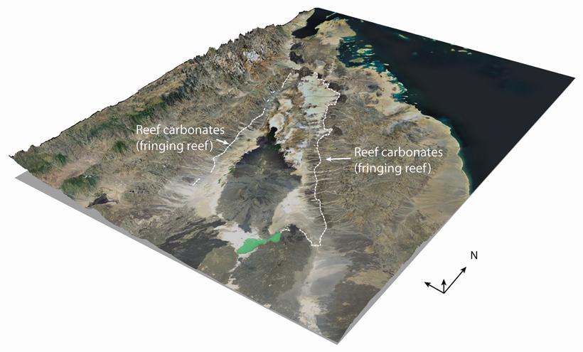 Fig. 3. Satellite image of the Danakil Depression superimposed on a digital elevation model. Credit: ASTER GDEM ©METI and NASA Landsat 7 & Landsat ETM+