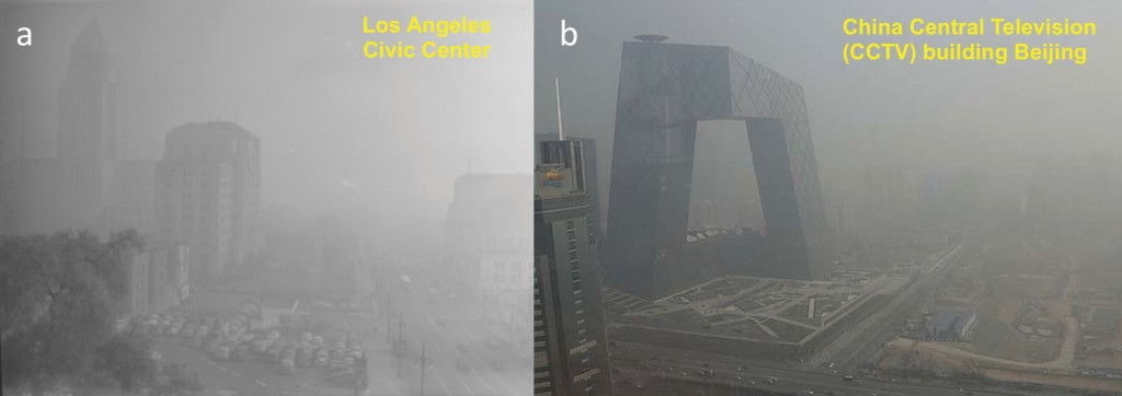Fig. 1. Degraded air quality in two megacities: (a) Los Angeles in 1948 (from the Los Angeles Times Photographic Archive, UCLA; http://bit.ly/LA1948) and (b) Beijing 65 years later (© JasonLee/Reuters/Corbis).