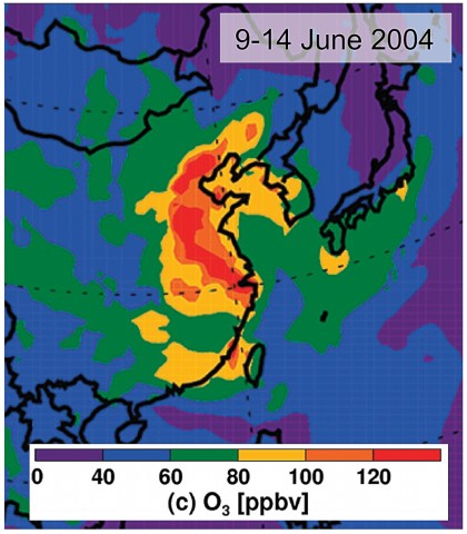 Fig. 3. Results of a modeling study of ozone during a pollution episode that encompassed nearly all of eastern China. Adapted with permission from Zhao et al., [2009]. ©American Chemical Society.