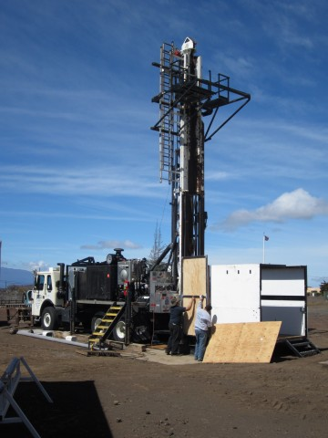A view of the core drilling rig at the Pohakuloa Training Area in 2013. Photo by Eric Haskins