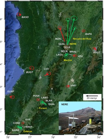 Fig. 1. Continuous GPS sites (CGPS; labeled in white) monitoring Colombian volcanoes and horizontal deformation velocities for 2012 relative to the North Andes tectonic plate. Green arrows show deformation velocities for the volcano GPS stations. Red arrows show deformation velocities for the Geodesia: Red de Estudios de Deformación (GEORED) sites, used to define the North Andes regional reference frame. Ellipses show the 95% horizontal errors for each site. Cerro Machín and Nevado del Ruiz volcanoes are monitored by the Manizales Observatory, Puracé is monitored by the Popayan Observatory, and Galeras is monitored by the Pasto Observatory. The time series for the vertical deformation at the CGPS site Nereidas (NERE) is shown in Figure 2.