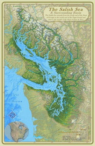 Map of the Salish Sea and surrounding basin. Credit: Stefan Freelan, WWU, 2009