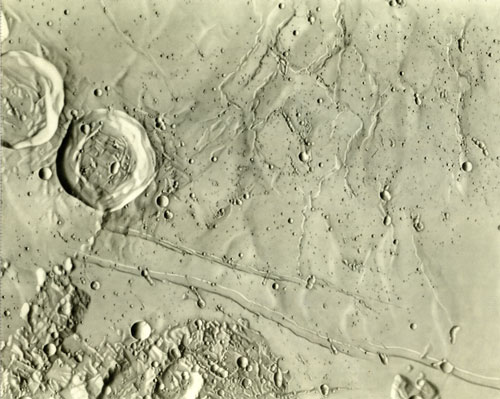 A shaded relief chart made by Ranger VIII of the Sabine region, including the area where Apollo 11 would land. Scale is 1:250,000. Courtesy of LPI