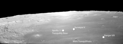 Mare Tranquillitatis (the Sea of Tranquility), showing the crash site of Ranger VIII, the landing site of Surveyor V, and Apollo 11's Tranquility Base. Credit: NASA AS11-41-6091.
