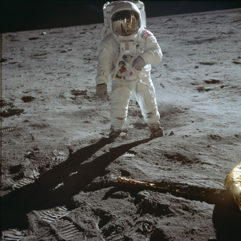 Apollo 11's mission to the Moon relied, in part, on data from Ranger VIII, its first robotic precursor. Credit: NASA AS11-40-5903