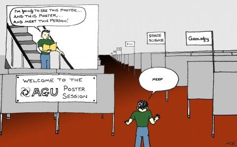 One of the first cartoons Miles Traer produced during the Fall Meeting was his impression of the overwhelming scope of the poster hall. Credit: Miles Traer