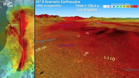 A screen shot of earthquake rupture during the ShakeOut simulation, showing a view of southern California with the seismic waves radiating outward from the San Andreas fault as the rupture propagates toward the northwest. Warmer colors indicate stronger shaking. To view the full movie along with animated simulations of shaking from neighborhood perspectives, click  here. Credit: USGS