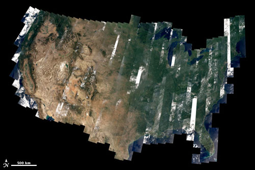 An early view of the United States from Landsat 8, which launched on 11 February 2013. David Roy, a coleader of the U.S. Geological Survey–NASA Landsat science team and researcher at South Dakota State University, made the map with observations taken during August 2013 by the satellite's Operational Land Imager. Credit: David Roy, USGS-NASA WELD