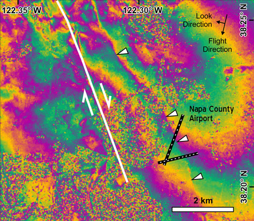 Fig. 2. Enlarged view of the deformation field around Napa County Airport showing the main rupture to the west of the airport and a discontinuity in the phase (marked by white triangles) across the runways (thick black lines).