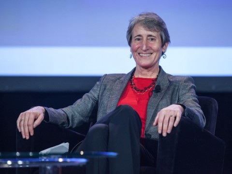 Secretary of the Interior Sally Jewell welcomes questions during the Union Agency Lecture. © Gary Wagner Photos