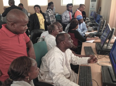 Hands-on practical session and discussions as part of the modeling tutorial during the workshop. Credit: Francis Nkem Eze, CAR/NASRDA