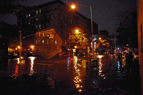 Flooding from Hurricane Sandy in New York's East Village, moments before a nearby ConEdison power substation blew and the neighborhood lost electricity on 29 October 2012. Credit: David Shankbone,  CC BY 2.0