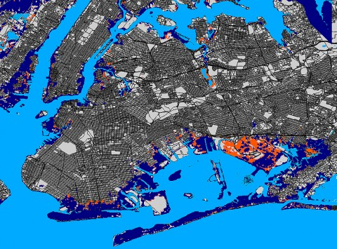 A map, prepared by Kulp et al., of areas in New York City flooded by Hurricane Sandy. Both blue and orange areas were flooded, but the orange areas would not have flooded were it not for the 20-centimeter rise in sea level over the twentieth century. The large orange and blue area at the lower right of the map is John F. Kennedy International Airport. The map was created by the simulation program, and the authors stress that it is provisional and subject to refinement.