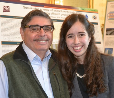 Science Fair participant Sophia Sánchez-Maes with her grandfather Albert Sánchez. Credit: Randy Showstack