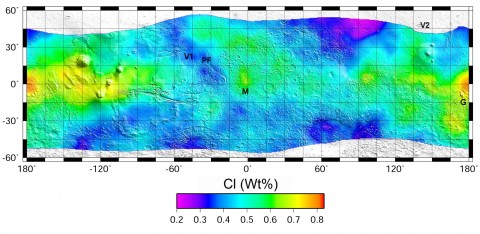 Chlorine concentration map of the Martian surface. Landing sites for Viking 1 (V1), Viking 2 (V2), and Pathfinder (PF) are labeled, along with Gusev Crater (G) and Meridiani Planum (M). Credit: Keller et al., [2006] via Mars Odyssey GRS
