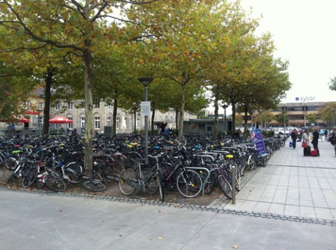 Bicycle parking outside Göttingen train station. Credit: Seth Stein
