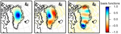 """Fig. 1. Three Slepian functions for the dashed region around Greenland, complete to spherical harmonic degree and order 60. Each of the mathematical functions (shown from left to right are the 1st, 5th, and 9th functions from the complete set) is a """"template"""" map pattern for the ice mass loss that we recover from the data. The full set of 20 such functions, with the proper weightings derived from the data, yields the modeled ice mass loss pattern shown in Fig. 2."""