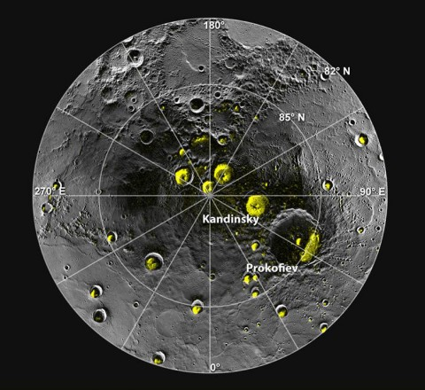 Mercury's north pole, where bright yellow spots show areas of high reflectivity. Scientists believe that these areas, shielded from the Sun by cater walls, contain polar ice. Credit: NASA/JHUAPL/CIW/National Astronomy and Ionosphere Center, Arecibo Observatory
