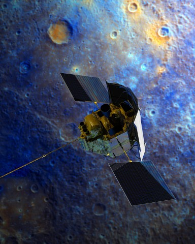 An artist's rendition of NASA's MESSENGER spacecraft soaring over Mercury. Credit: NASA