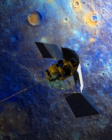 An artist's rendition of NASA's MESSENGER spacecraft soaring over Mercury. Credit: NASA