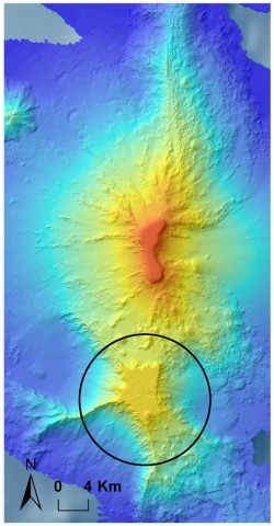 Fig. 3. Bathymetry of Bank 9. The black circle indicates the part that we confirmed is Cretaceous in origin.