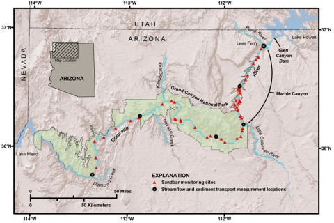 Fig. 1. Map of the Colorado River between Glen Canyon Dam and Lake Mead, Ariz., showing sandbar and streamflow monitoring sites.