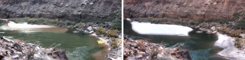 Fig. 3. Photographs showing deposition caused by November 2012 controlled flood. The sandbar is 105 kilometers downstream from Lees Ferry, and the view is looking downstream. These and additional photographs depicting the results of the recent controlled floods can be viewed inan album of the Grand Canyon Monitoring Research Center. Credit: USGS