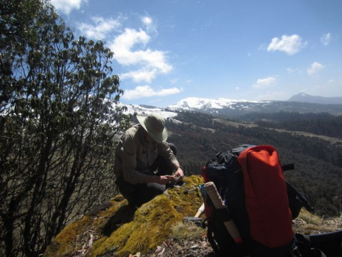 Field assistant Nigel Bocking takes a measurement in western Nepal. Bocking and Renaud Soucy La Roche from Queen's University in Canada spent a month in Nepal doing field work before the earthquake struck. Credit: Renaud Soucy La Roche