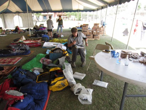 Sorting and packing rock samples in the camp at the American Club where Bocking and Soucy La Roche took refuge after the earthquake. Credit: Renaud Soucy La Roche