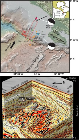 """(a) A region offshore Costa Rica, surveyed by Langseth in 2011. (b) A 3-D view of an 11 × 55 kilometer section surveyed, showing the upper 1 kilometer of sediment cover across the upper slope. True orientations of four sets of normal faults were mapped, identified by offsets in dipping stratigraphy. The horizontal depth """"slice"""" also shows fault curvature, implying localized variations in stress orientation at fault initiation. Such detailed structural interpretations on continental margins worldwide are impossible without images like these. Credit: Nathan Bangs, UTIG"""