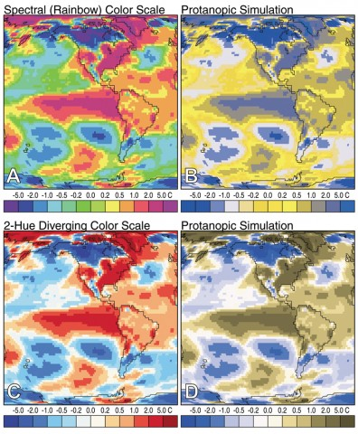 Fig. 1. Two-meter air temperature anomalies (i.e., differences from the 1971–2000 mean) for January 1998 (during a recent El Niño) using two different color schemes. (A) Data using a saturated spectral scheme similar to those used by many geoscience authors; (B) A simulation of the spectral image as it might appear to individuals with protanopic vision, one of the most common types of color-vision deficiency in which the retina lacks red-sensitive cones; (C) The same data mapped using a red-white-blue diverging scale; and (D) The corresponding simulation for color-deficient readers. (NCEP/NCAR reanalysis data.)