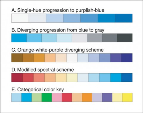 Fig. 2. Color schemes of one or two hues progressing from light to dark convey sequential data effectively. (A) A single hue progression suitable for sequential data. Diverging color schemes may be constructed by combining pairs of sequential schemes at the midpoint; (B) How color can extend a simple intensity scale, making it two-sided and therefore suitable for displaying either sequential or diverging data; (C) Combination of an orange-to-white sequence with a white-to-purple sequence, a scheme that appears very similar to both color-deficient and normally sighted readers. The rainbow spectrum appeals visually to many authors and readers, but an unmodified spectral color sequence proves ineffective for most purposes. The color scheme depicted in Figure 2D avoids yellow-green and varies intensity as well as hue, employing spectral color while avoiding the shortcomings of rainbow displays. For authors wishing to depict categorical rather than continuously distributed data, Figure 2E combines 12 bright colors that are mutually distinguishable from one another.