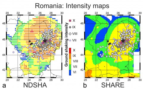 Fig. 1. Seismic hazard assessment for Romania. (a) Neodeterministic seismic hazard assessment (NDSHA) method [Radulian et al., 2000]; (b) Seismic Hazard Harmonization in Europe (SHARE) project [Giardini et al., 2014]. Colored regions represent shaking intensities calculated using each method. Color-coded symbols indicate observed shaking intensities. The large star marks the shock epicenter of the 1940 M7.7 earthquake in Vrancea, and smaller stars are epicenters of violent shocks in the Fagaras zone in 1550, 1571, and 1590. The intensity IX area of the SHARE map is outlined on top of the observed shaking.