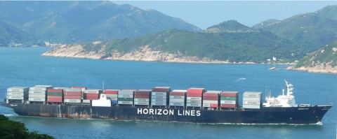 The Horizon Spirit carries over a thousand containers from Los Angeles to Honolulu every 2 weeks. All AMF2 instruments and operations during MAGIC were on the bridge deck, which is near the mast at the bow of the ship (at right in photograph).