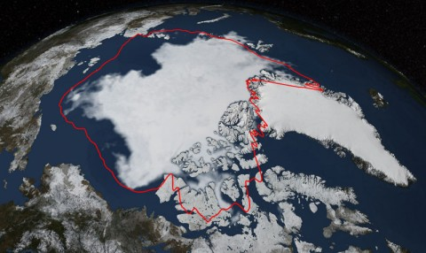 Arctic sea ice hit its annual minimum on 17 September 2014. The red line in this imageshows the 1981-2010 average minimum extent. Data provided by the Japan Aerospace Exploration Agency GCOM-W1 satellite.Credit:NASA/Goddard Scientific Visualization Studio