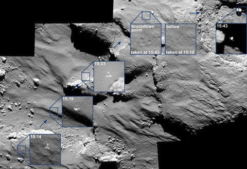Rosetta's Optical, Spectroscopic, and Infrared Remote Imaging System (OSIRIS) imaging instrument captures the final descent and subsequent bounces of the Philae lander on 12 November.