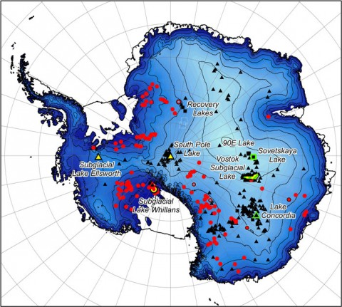 The locations of Antarctic subglacial lakes. Colors and shapes denote the type ofinvestigations undertaken at each lake site. Black triangles are radarsoundings, yellow represents seismic sounding, green represents gravitational field mapping, red circles are surface height change measurements, squares indicate where lake shapes were identified from ice-surface features. Lake Vostok, by far thelargest subglacial lake, is shown in outline. Credit: Wright and Siegert [2012, © Cambridge University Press, reprinted with permission.