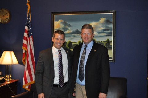 Mike Phillips, of Illinois Valley Community College, with Rep. Adam Kinzinger (R-Ill.). Credit: Kinzinger staff