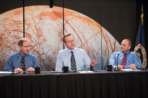 NASA scientists John Grunsfeld, Jim Green, and Curt Niebur (left to right) speak at NASA Headquarters in Washington, D. C., on a 26 May panel about instruments selected to investigate Jupiter's moon Europa. In July 2014, NASA officials requested proposals for instruments to fly aboard a spacecraft conducting approximately 45 flybys of Europa over roughly a 3-year period. Credit: NASA/Aubrey Gemignani