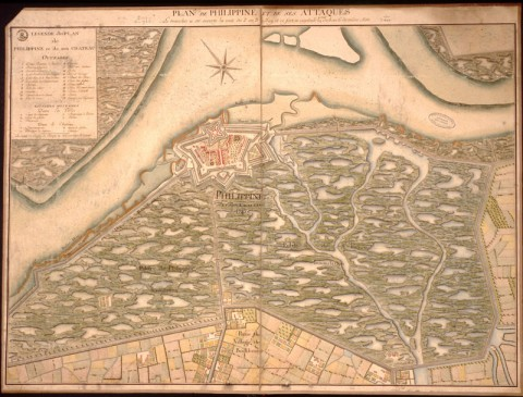 The Dutch fortress of Philippine, shown in this eighteenth century map, lay in the central part of a flood zone in Zeeland Flanders in southwestern Netherlands, an area the French invaded three times between 1702 and 1814, occupying it twice. The Dutch prepared an east-west corridor (beginning at the town of Sluis and ending east of the town of Hulst) to be flooded in case of warfare. During France's campaigns, French Intelligence gathered information, including maps, like this one, preserved in archives at Vincennes. When the Dutch flooded the lands around Philippine in 1747, the area silted up excessively, and French Intelligence knew they only had to wait until low tide for their troops to be able to cross some areas.Credit: Ministère de la Défense (France), Service Historique de la Défense