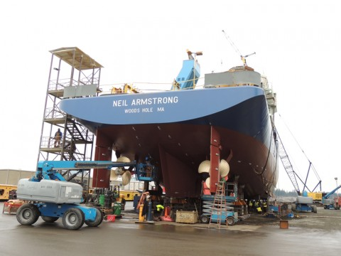 The R/V Neil Armstrong, prior to launching in Anacortes, Wash. The vessel, funded through the Office of Naval Research, will be operated by the Woods Hole Oceanographic Institution (WHOI) for the research community. Science operations will begin in 2016. Credit: Gary McGrath, WHOI